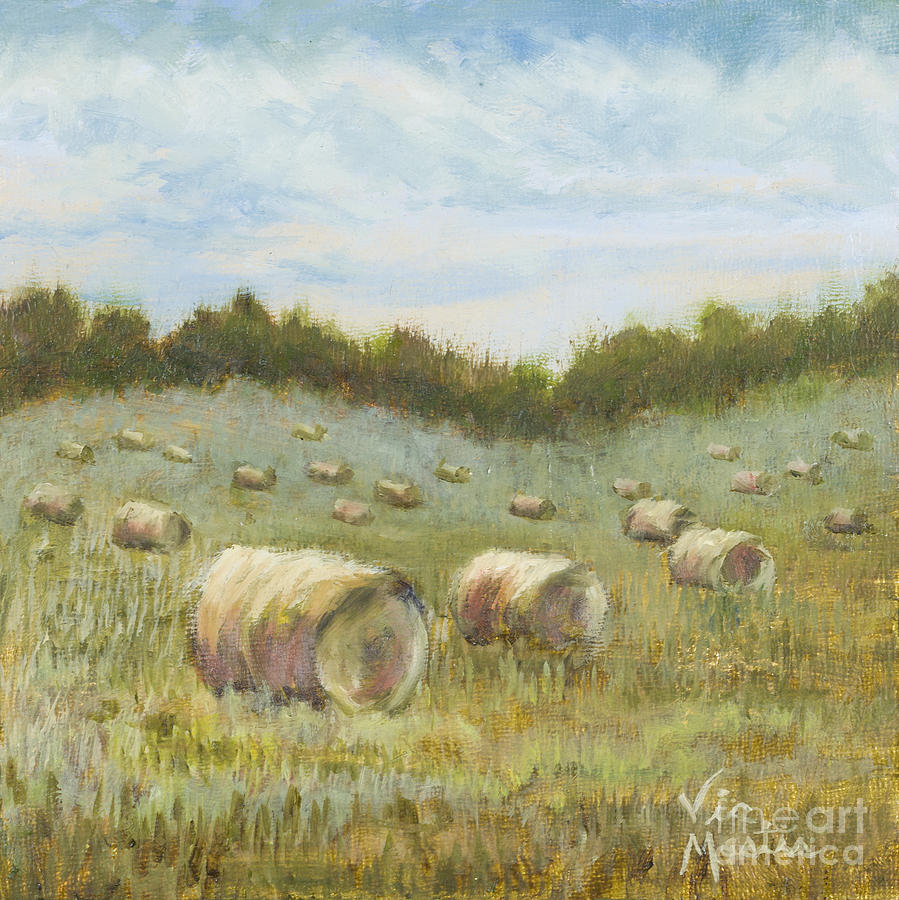 Hay Bales Painting - Day Is Done by Vic  Mastis