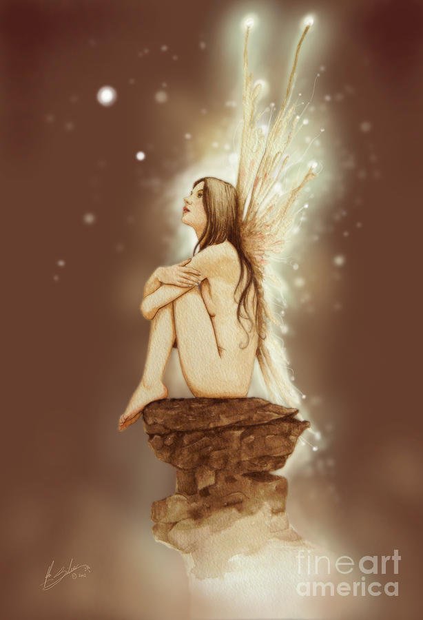 Daydreaming Faerie Painting  - Daydreaming Faerie Fine Art Print