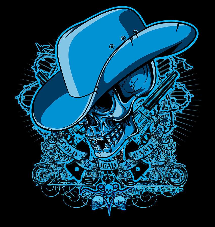 Dcla Digital Art - Dcla Skull Cowboy Cold Dead Hand 2 by David Cook Los Angeles