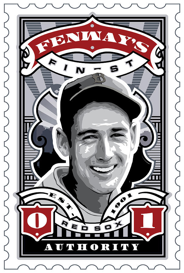 Dcla Ted Williams Fenways Finest Stamp Art Digital Art  - Dcla Ted Williams Fenways Finest Stamp Art Fine Art Print