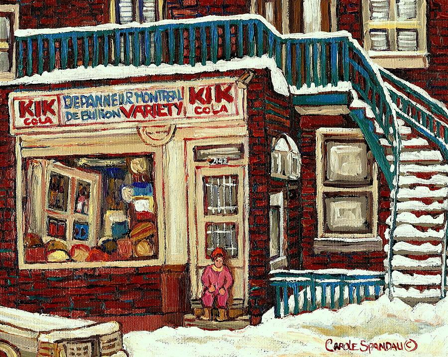 De Bullion Street Depanneur Kik Cola Montreal Streetscenes Painting