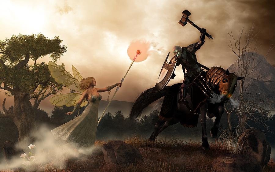 Renewal Digital Art - Death Knight And Fairy Queen by Daniel Eskridge