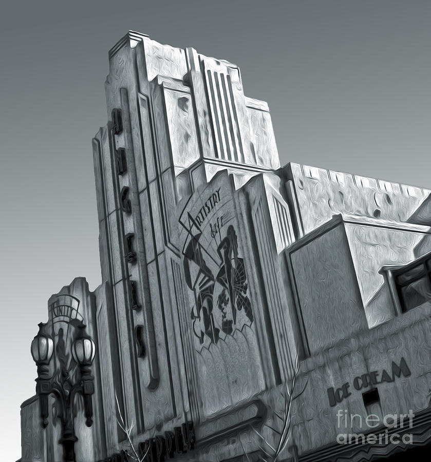 Deco Building In Black And White Painting  - Deco Building In Black And White Fine Art Print