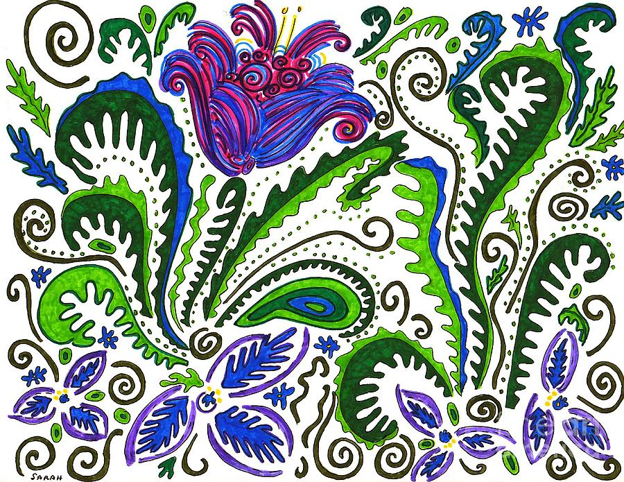 Flower Drawing - Deco Garden by Sarah Loft