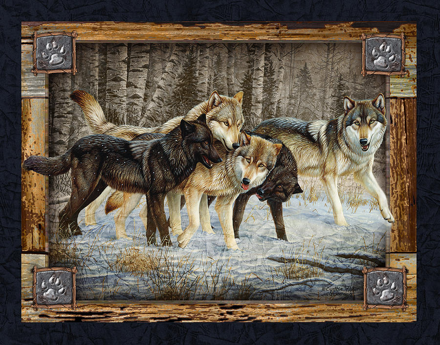Deco Wolves Painting  - Deco Wolves Fine Art Print