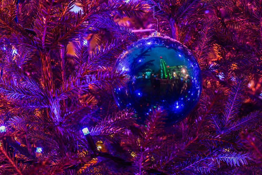 Decoration Ball On A Christmas Tree Illuminated With Red Light - Featured 3 Photograph  - Decoration Ball On A Christmas Tree Illuminated With Red Light - Featured 3 Fine Art Print