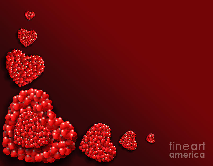 Decoration Of Heart Shaped Hearts Digital Art  - Decoration Of Heart Shaped Hearts Fine Art Print