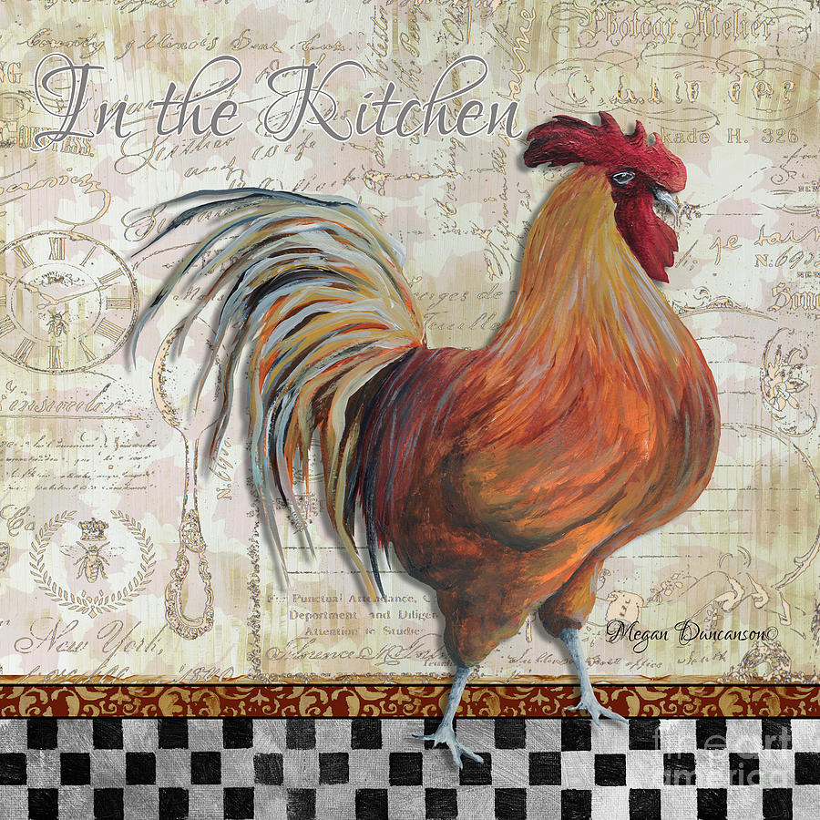 Decorative Rooster Chicken Decorative Art Original Painting In The ...