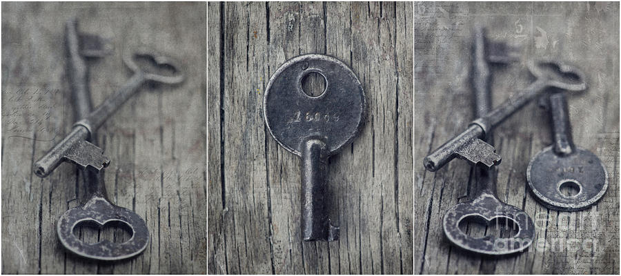 Keys Photograph - decorative vintage keys I by Priska Wettstein