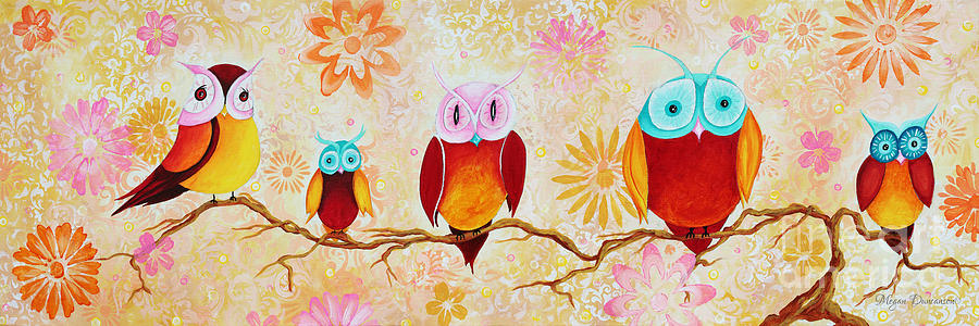 Decorative Whimsical Owl Owls Chi Omega Painting By Megan Duncanson Painting  - Decorative Whimsical Owl Owls Chi Omega Painting By Megan Duncanson Fine Art Print