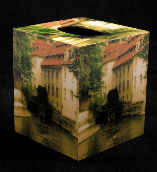 Decoupage Tissue Box Cover Kampa Mill In Prague Mixed Media