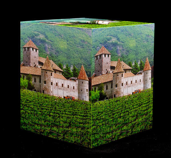 Decoupage Tissue Box Cover Of Castle And Vineyard In Italy Mixed Media