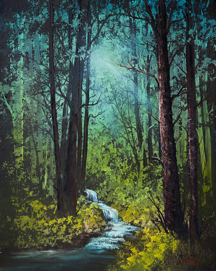 Landscape Painting - Deep Woods Stream by C Steele