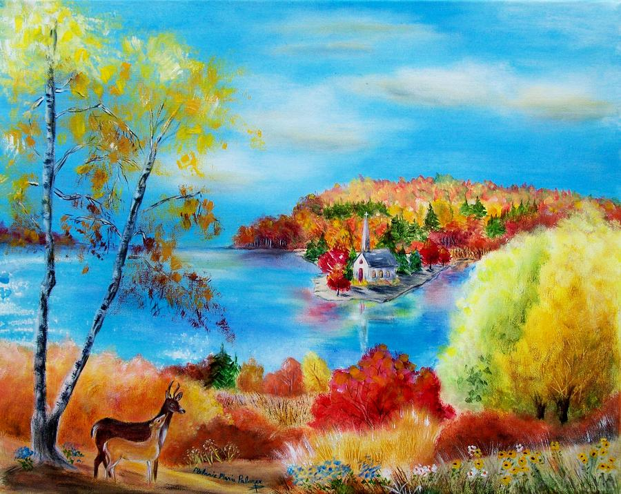 Deer And Country Church Autumn Scene Painting