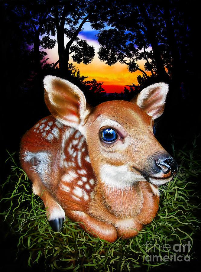 Deer Painting - Deer Fawn by Jurek Zamoyski
