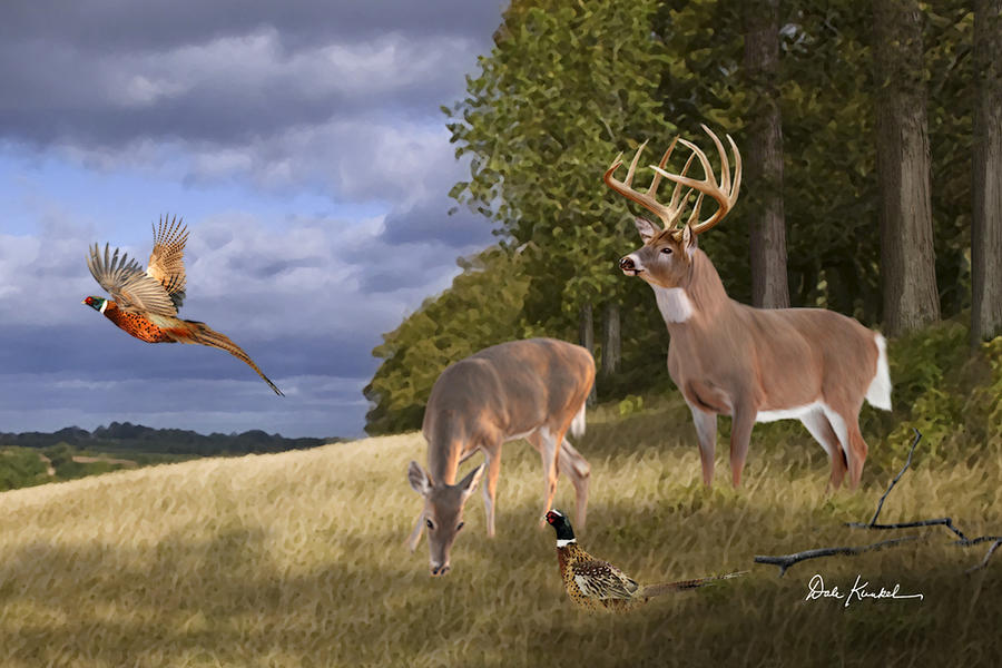 deer-hunting-art-quality-time-fine-art-deer-print-deer-artist-dale ...