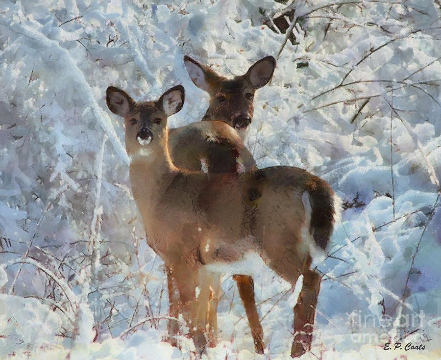 Deer In The Snow Painting  - Deer In The Snow Fine Art Print