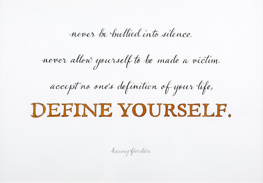 Define yourself mixed media by alesia zorn Define calligraphy