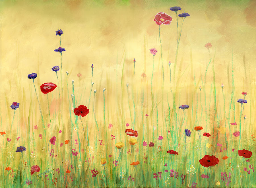 Delicate Poppies Painting  - Delicate Poppies Fine Art Print