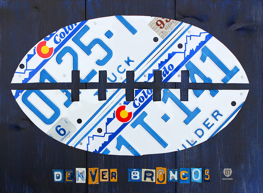 Denver Broncos Football License Plate Art Mixed Media
