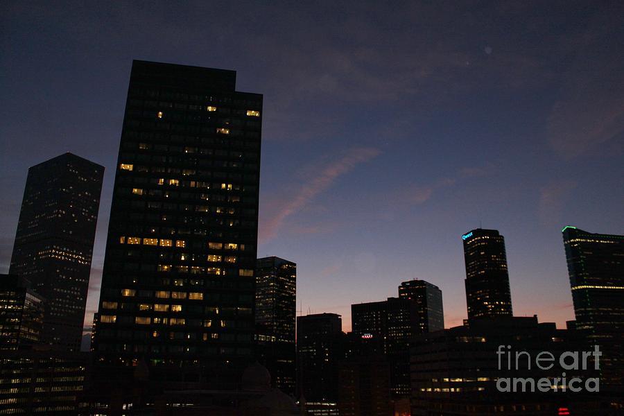 Denver Skyline At Night Photograph