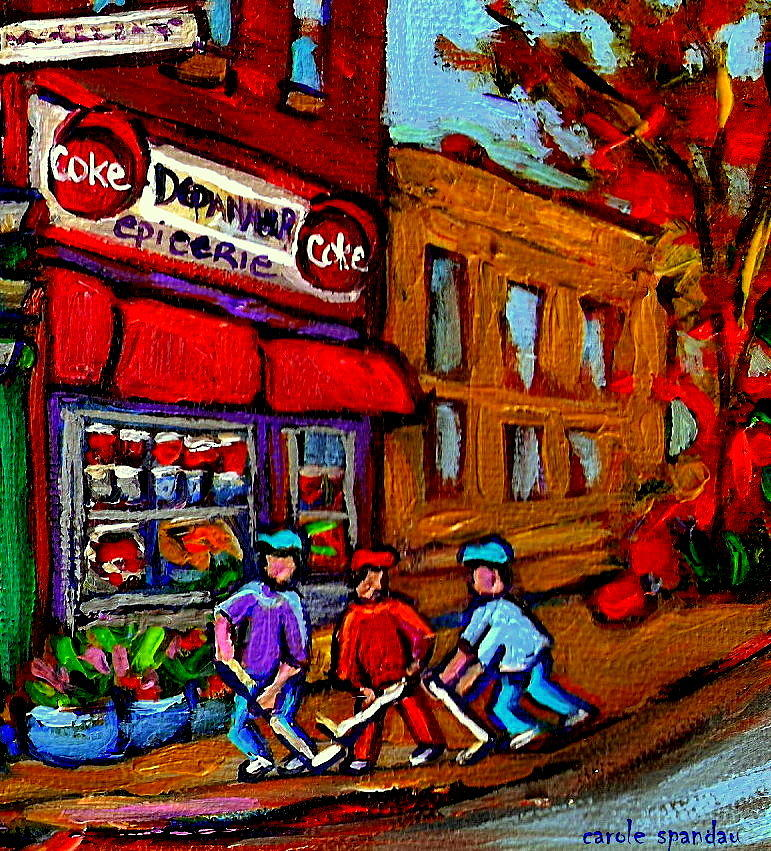 Montreal Stores And Streets Painting - Depanneur  Marche Epicerie Montreal Summer Street Hockey Painting South West City Scene by Carole Spandau
