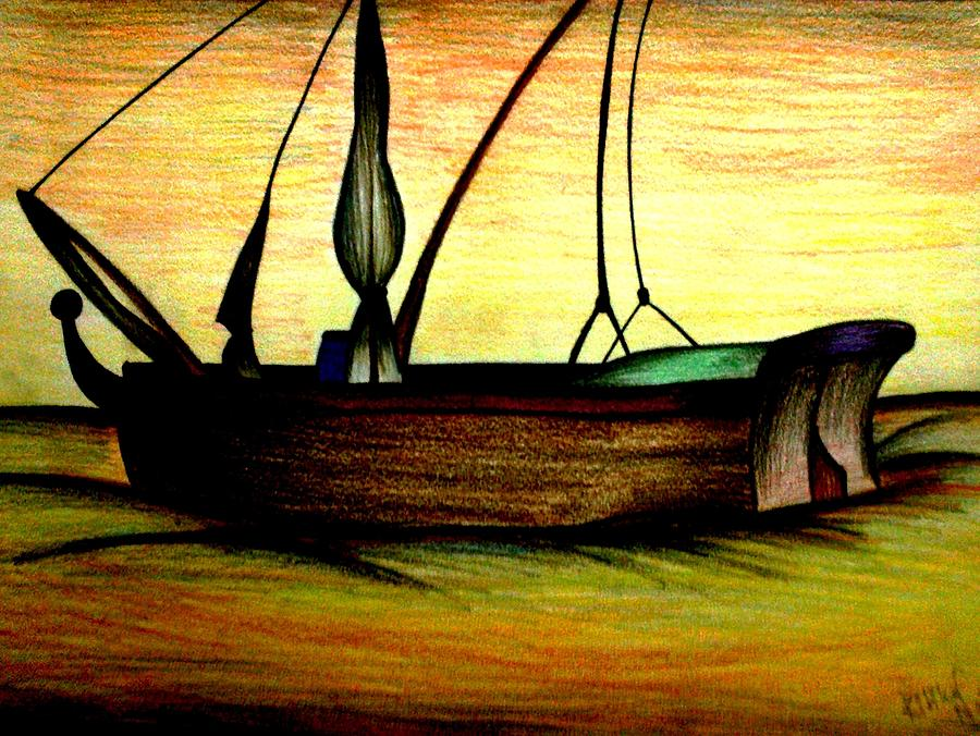 """""""she Watched The Gap Between Ship And Shore Grow To A Huge Gulf. Perhaps This Was A Little Like Dying Painting - Departed by Ritika  Nair"""