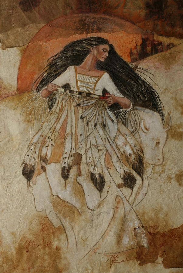 Sunrise As White Buffalo Woman Leaves The Lakota Tribe. She Holds The Sacred Pipe And She Shapeshifts Into The White Buffalo Painting - Departure Of White Buffalo Woman by Pamela Mccabe