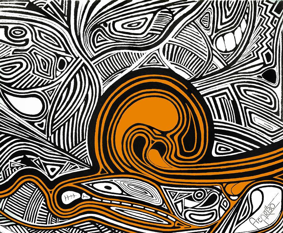 Depth1 Abstract Lines Orange Mixed Media
