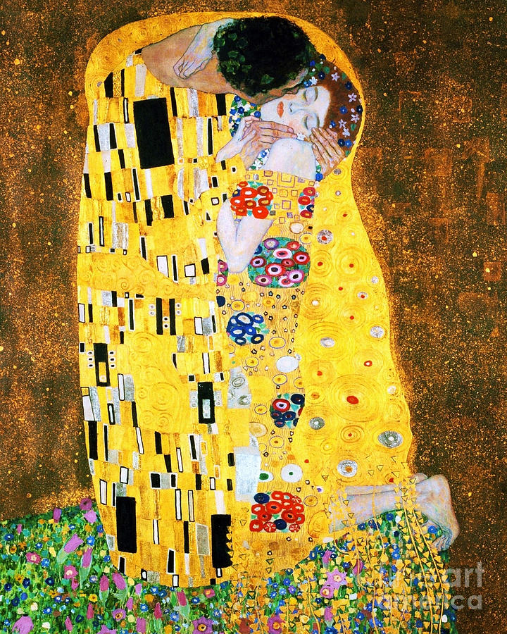 der kuss or the kiss by gustav klimt painting by pg reproductions. Black Bedroom Furniture Sets. Home Design Ideas