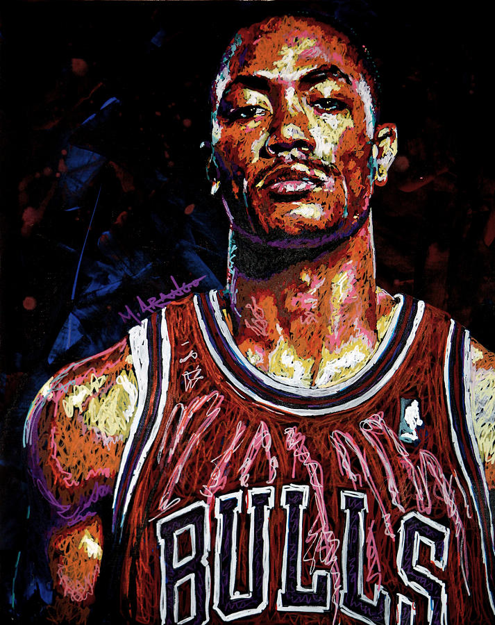Derrick Rose Painting - Derrick Rose-2 by Maria Arango