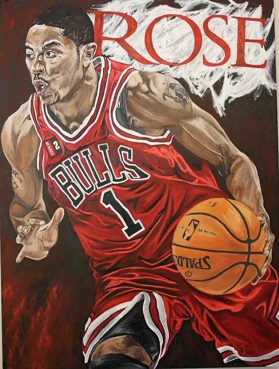 Derrick Rose On The Attack Painting