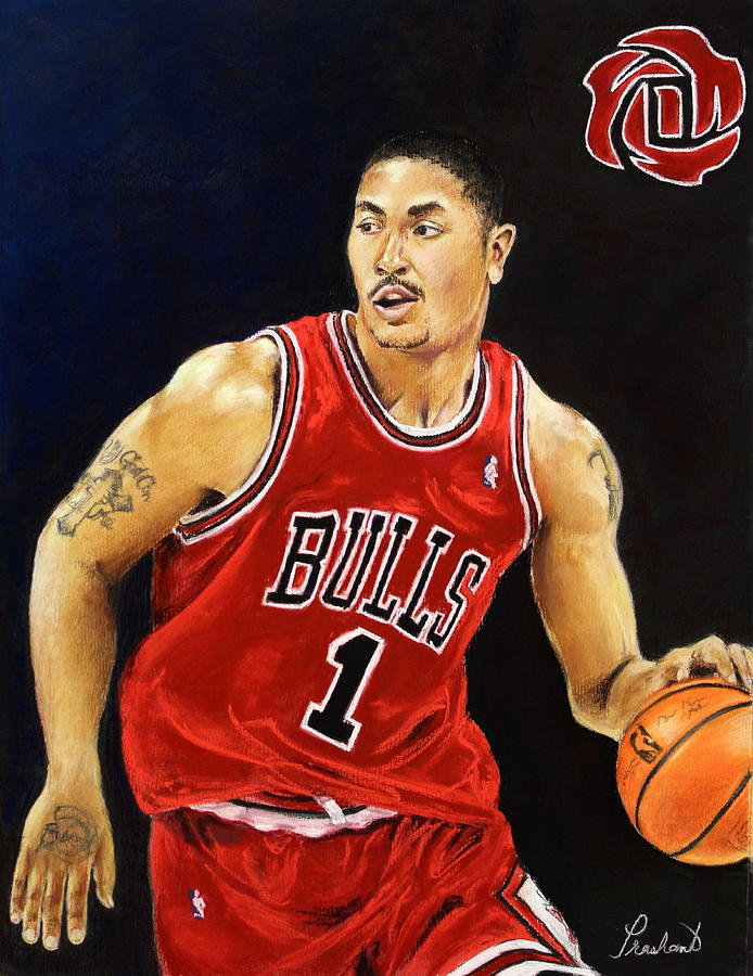 Derrick Rose Pastel Portrait - Chicago Bulls Painting  - Derrick Rose Pastel Portrait - Chicago Bulls Fine Art Print