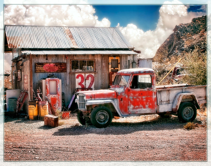 Desert Garage Reworked Photograph  - Desert Garage Reworked Fine Art Print