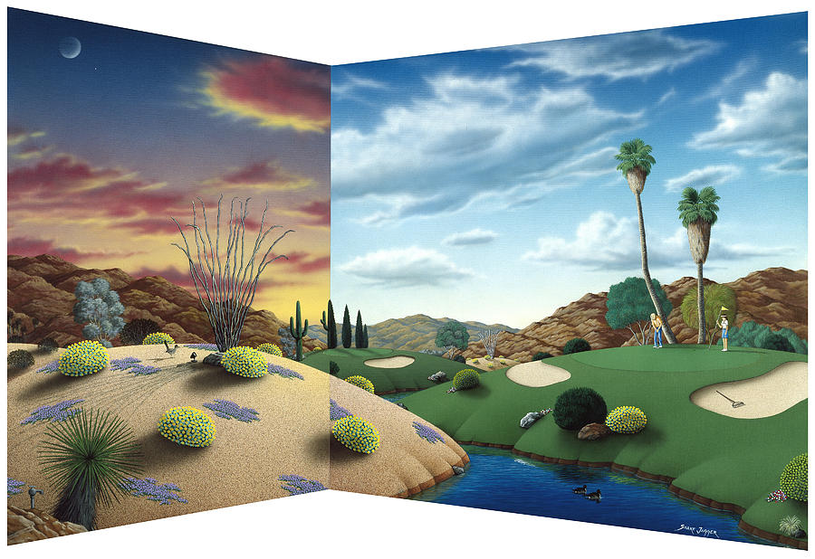 Desert Golf Painting