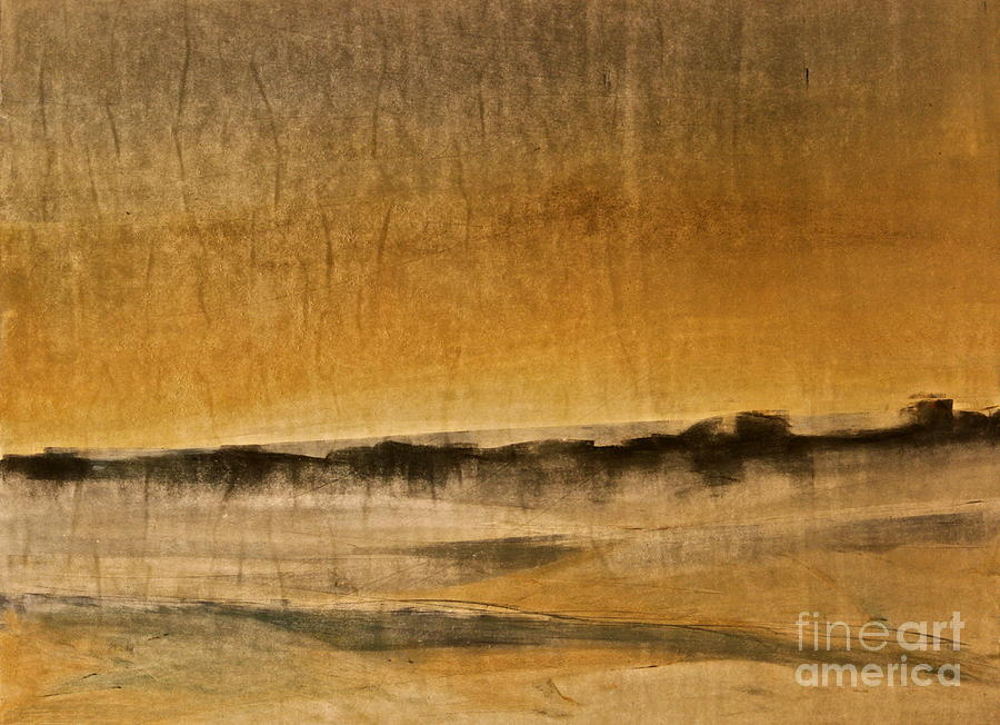 This Landscape Is Warm And Serene Like A Visit To The Desert.  I Like To Make These Simple Monotypes In The Winter Painting - Desert Scene  by Deborah Talbot - Kostisin