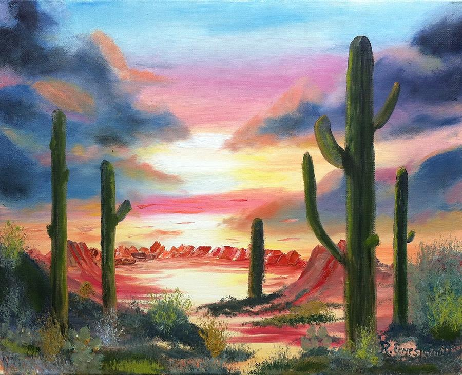 Desert Sunrise Painting  - Desert Sunrise Fine Art Print