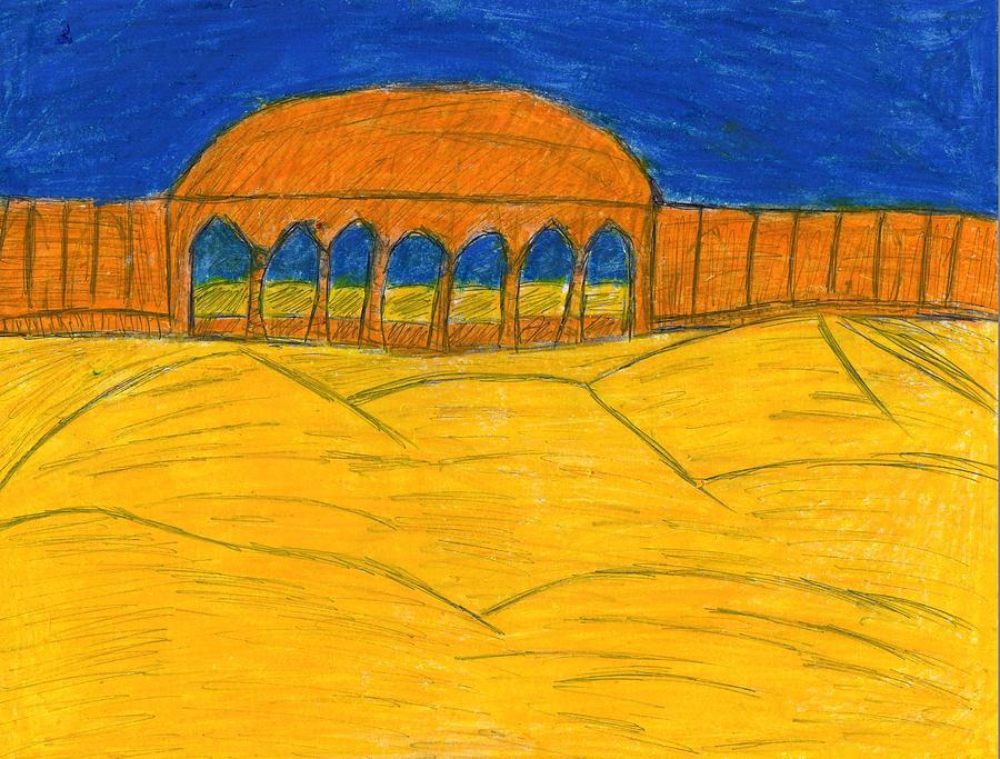 Lake Nasser Drawing - Desert Temple by Frances Garry