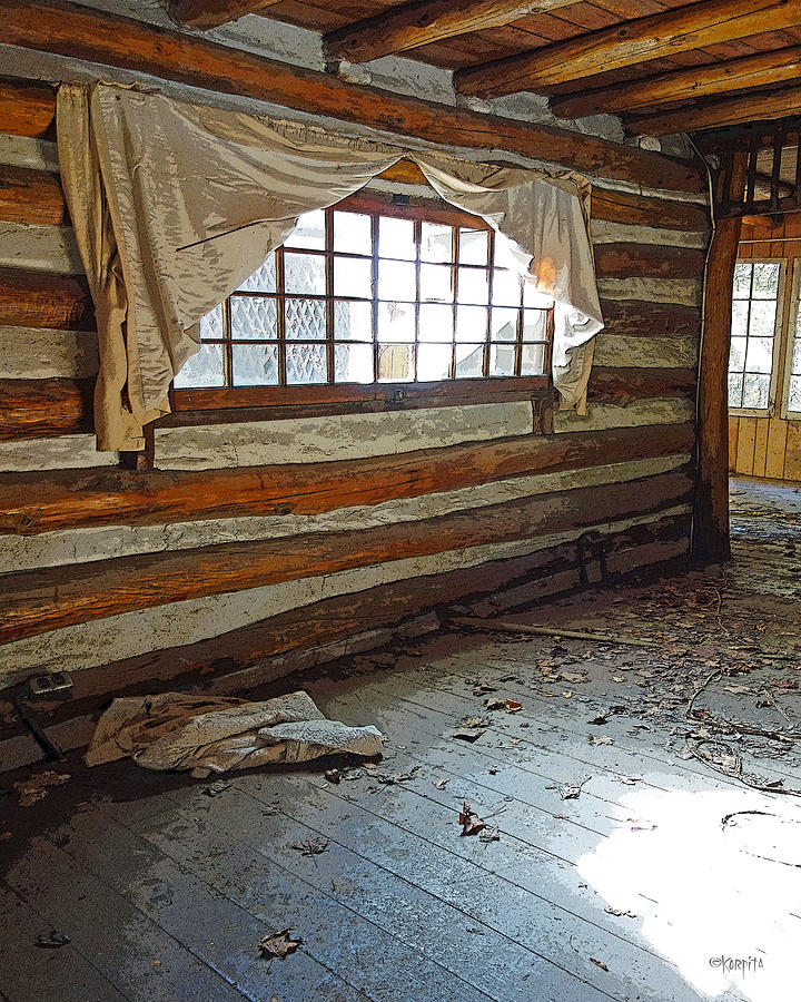Deserted Log Cabin Interior Light Through The Window