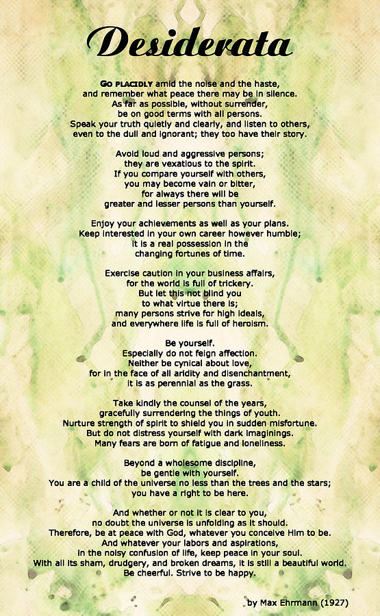 Desiderata 5 - Words Of Wisdom Painting