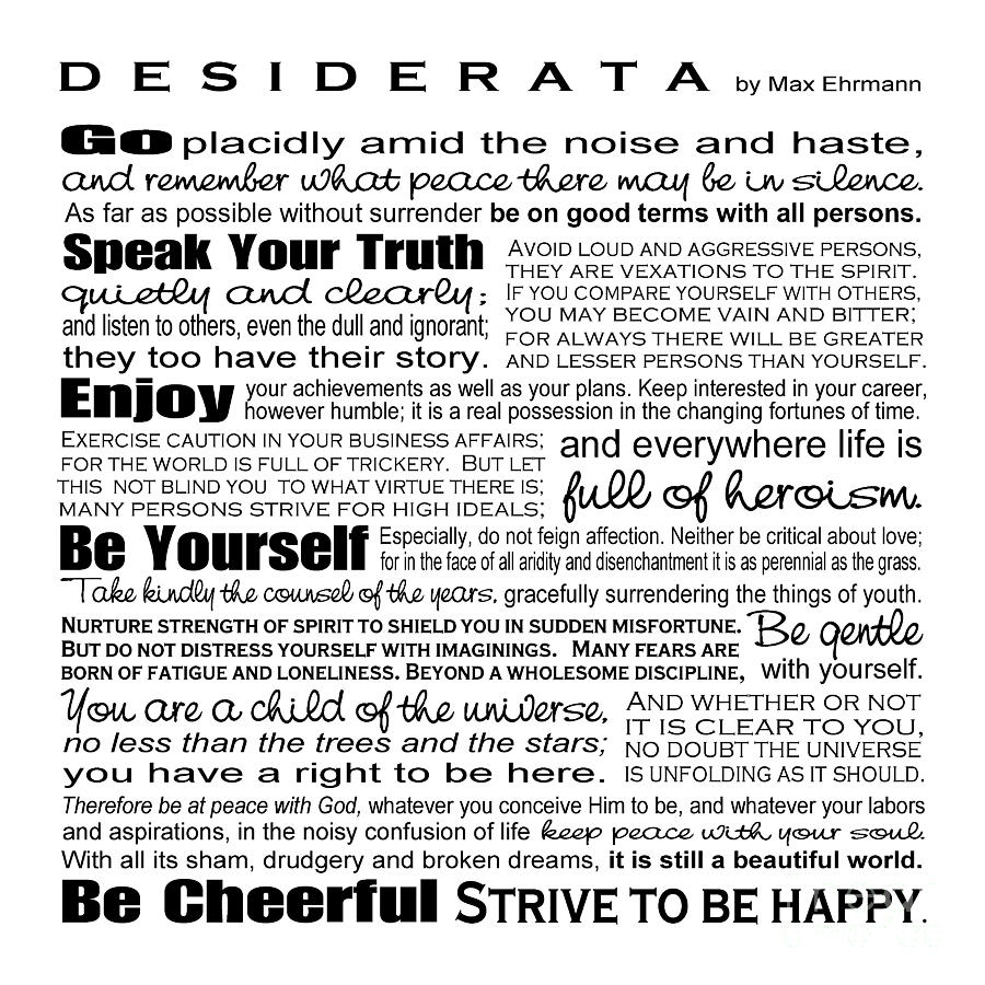 Desiderata - Black And White Square Digital Art