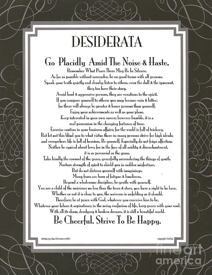 Desiderata Squared Swirls Mixed Media