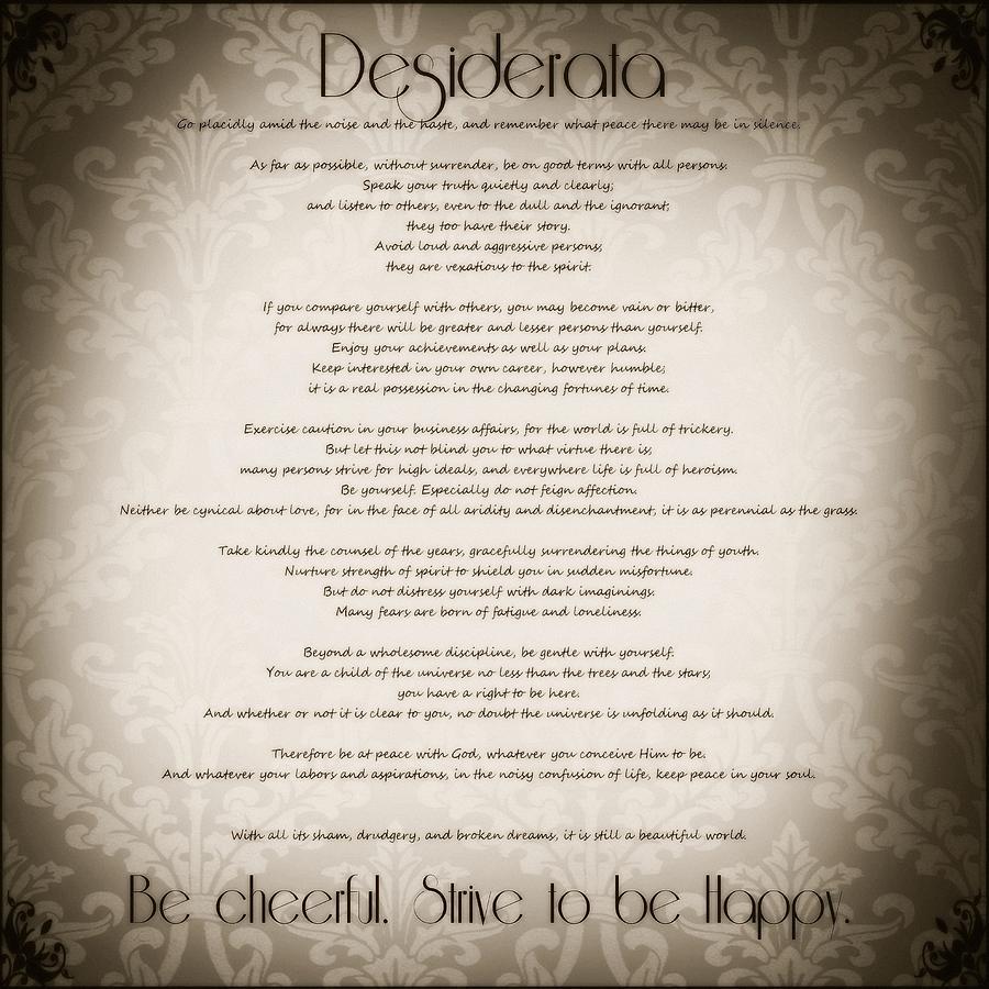 Desiderata - Vintage Sepia Photograph