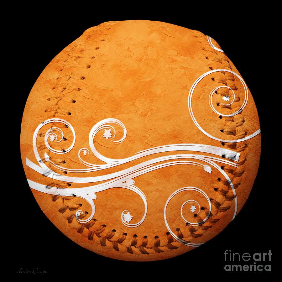 Designer Orange Baseball Square Photograph