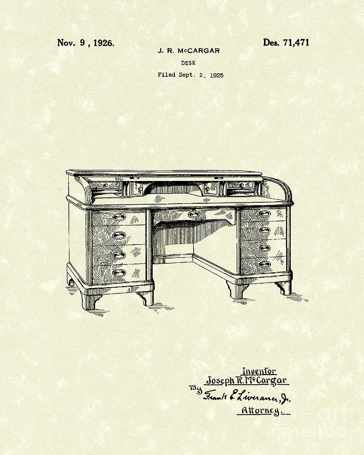 Desk 1926 Patent Art Drawing  - Desk 1926 Patent Art Fine Art Print