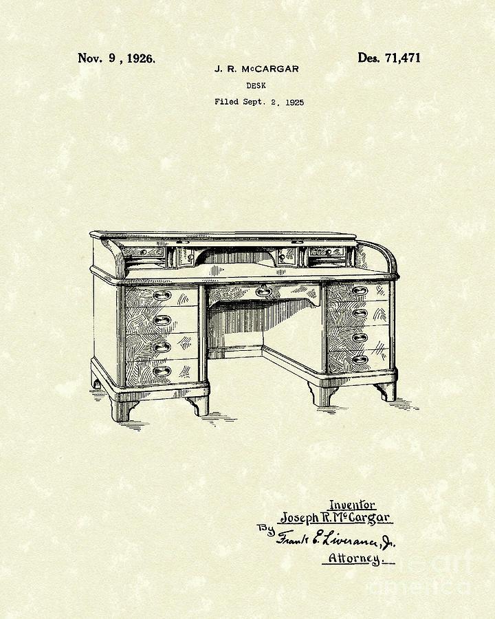 Desk 1926 Patent Art Drawing