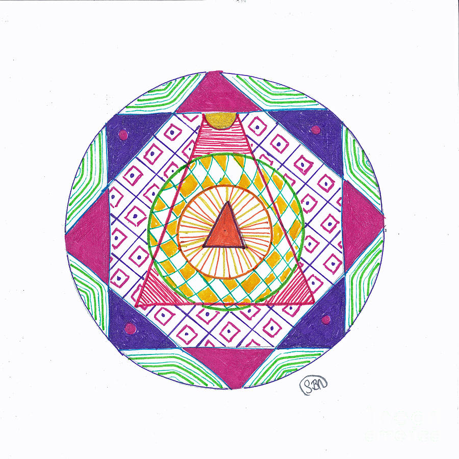 Mandala Drawing - Destination by Signe  Beatrice