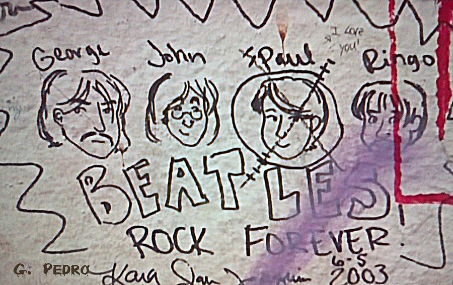 Detail Of Graffiti On Abbey Road Sign Photograph