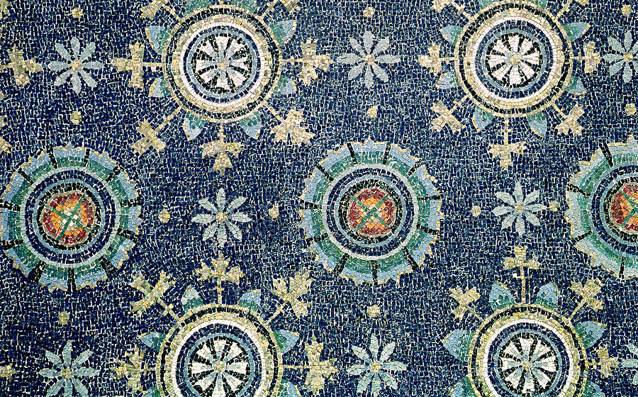 Detail Of The Floral Decoration From The Vault Mosaic