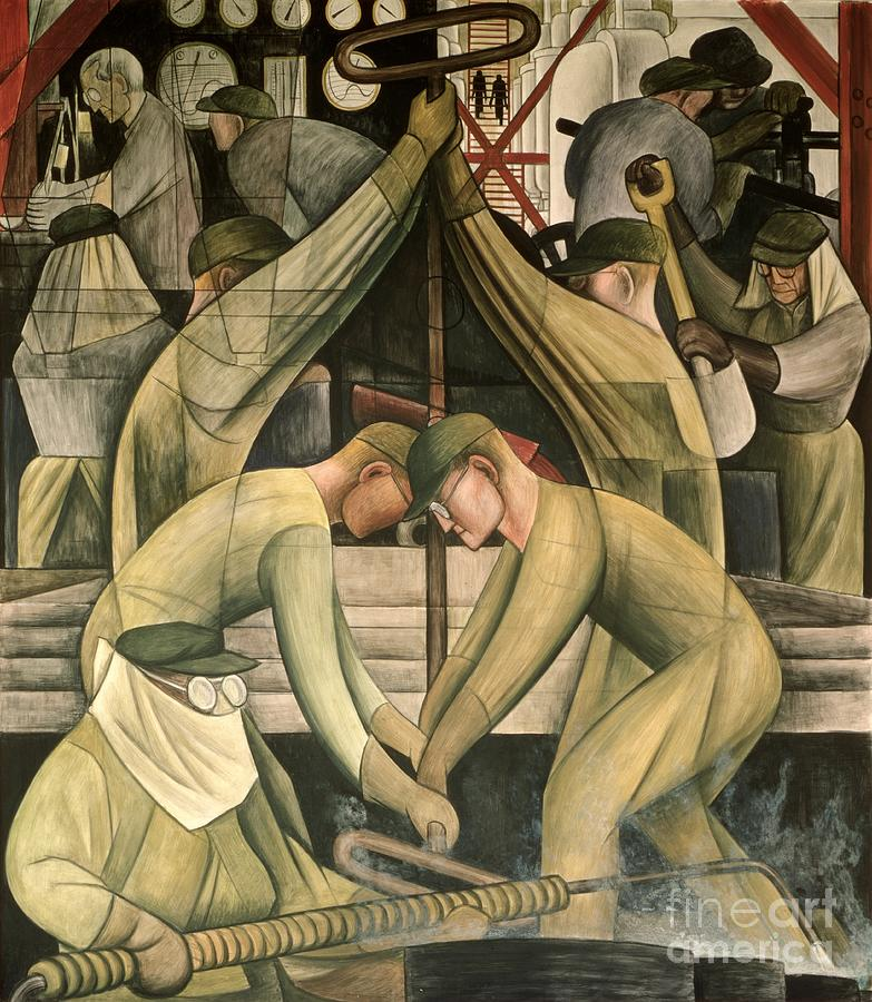 Ford Painting - Detroit Industry  South Wall by Diego Rivera